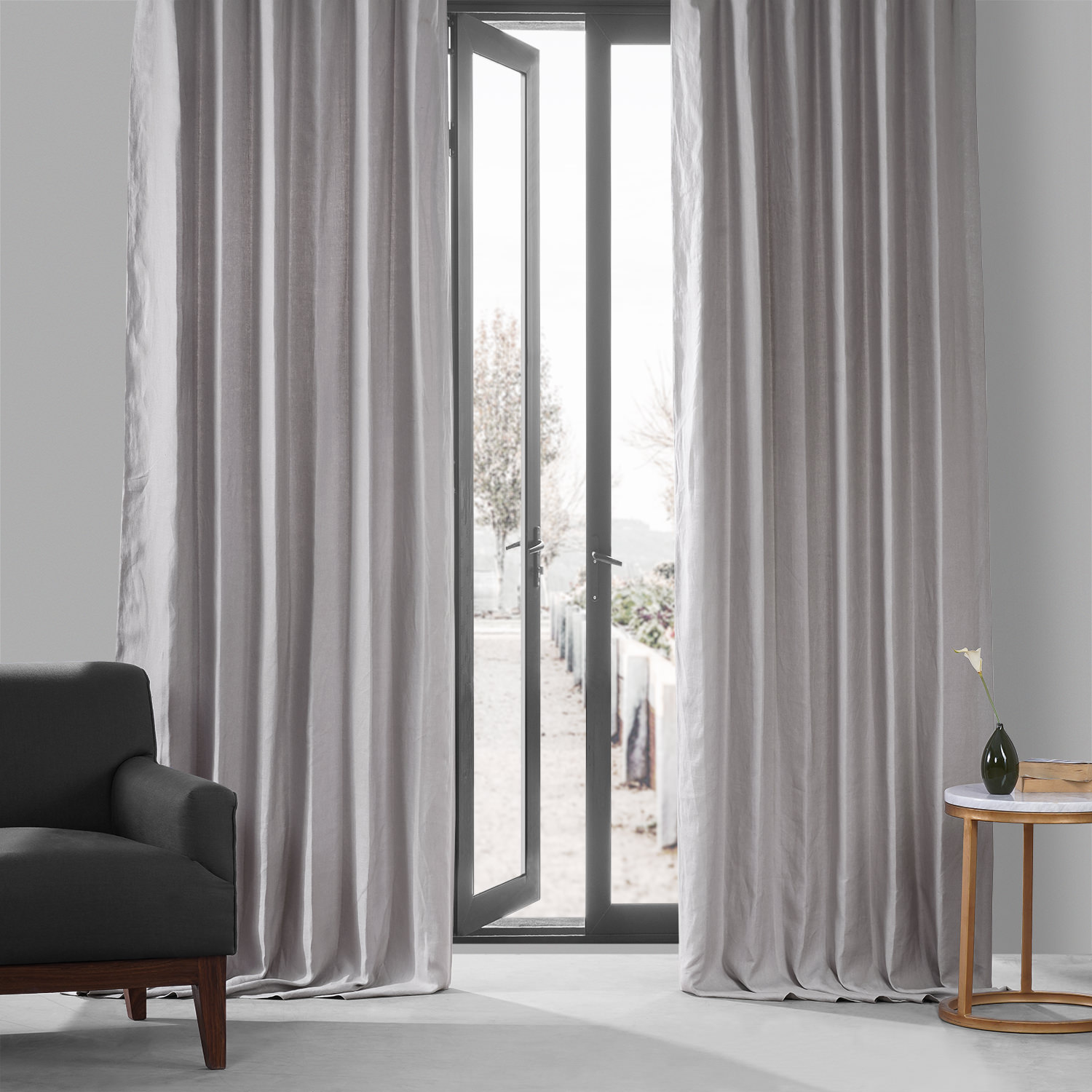 buy earl grey french linen curtain  half price drapes - earl grey french linen curtain