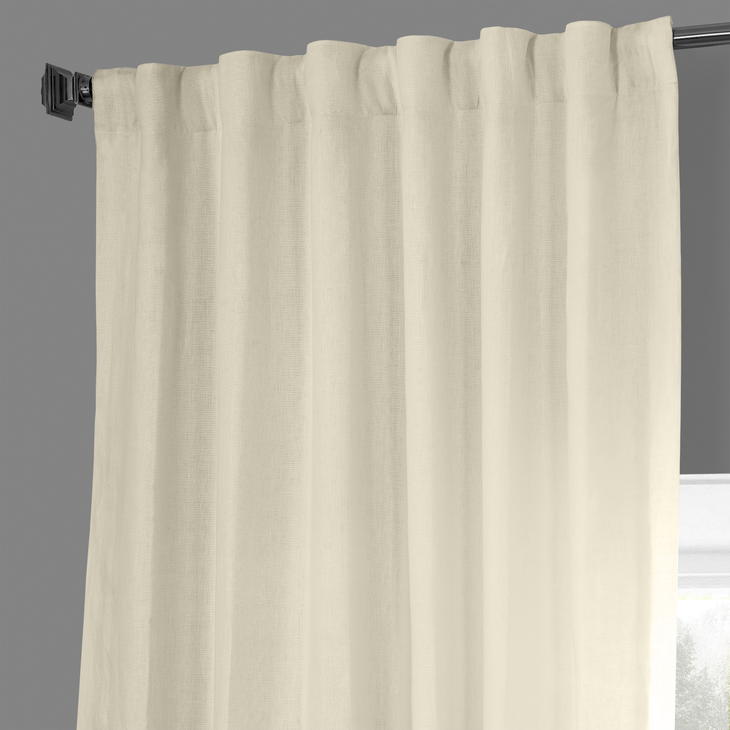 Buy Ancient Ivory French Linen Curtain Half Price Drapes