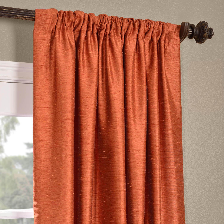 Poppy Fields Yarn Dyed Faux Dupioni Silk Curtain
