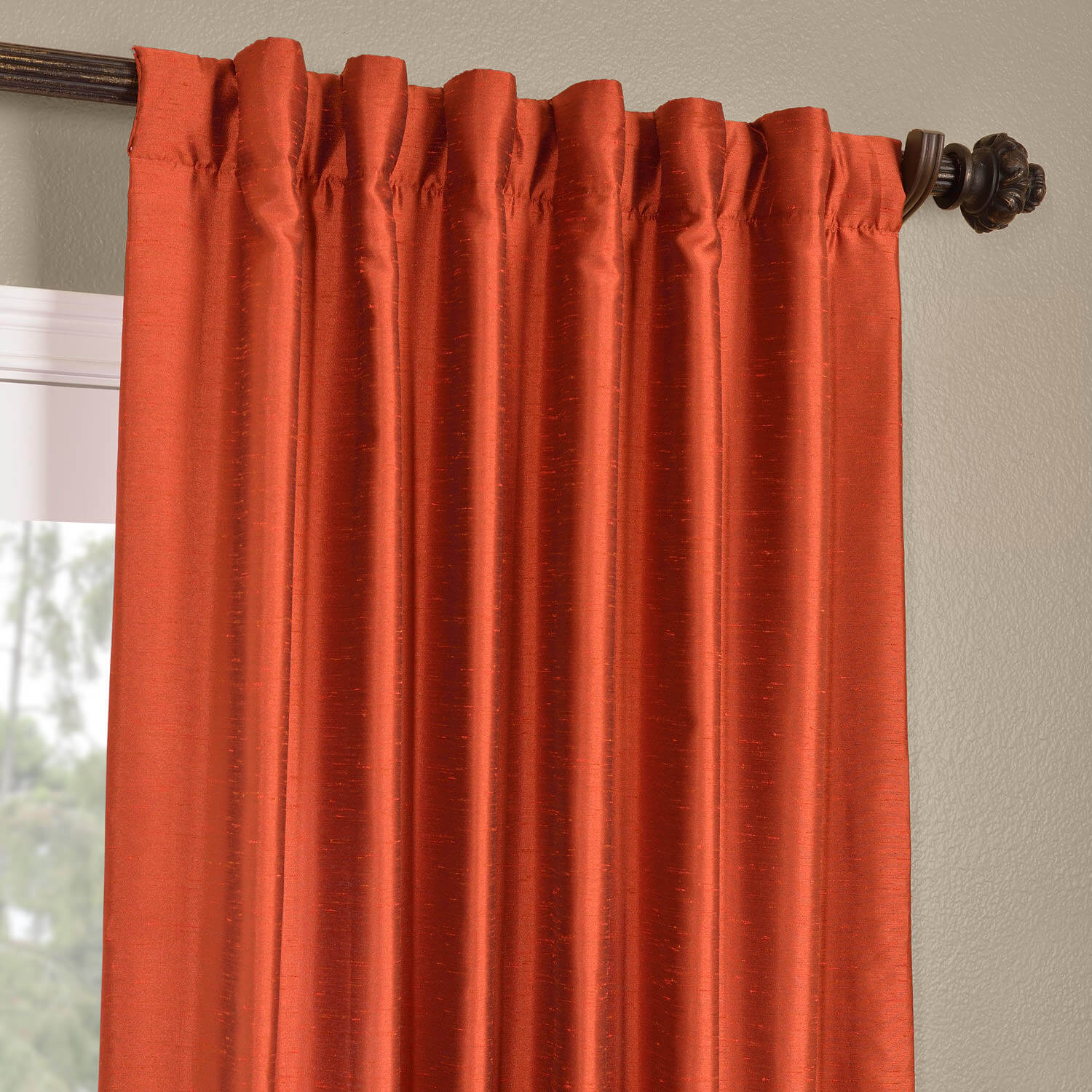 buy blood orange yarn dyed faux dupioni silk curtains
