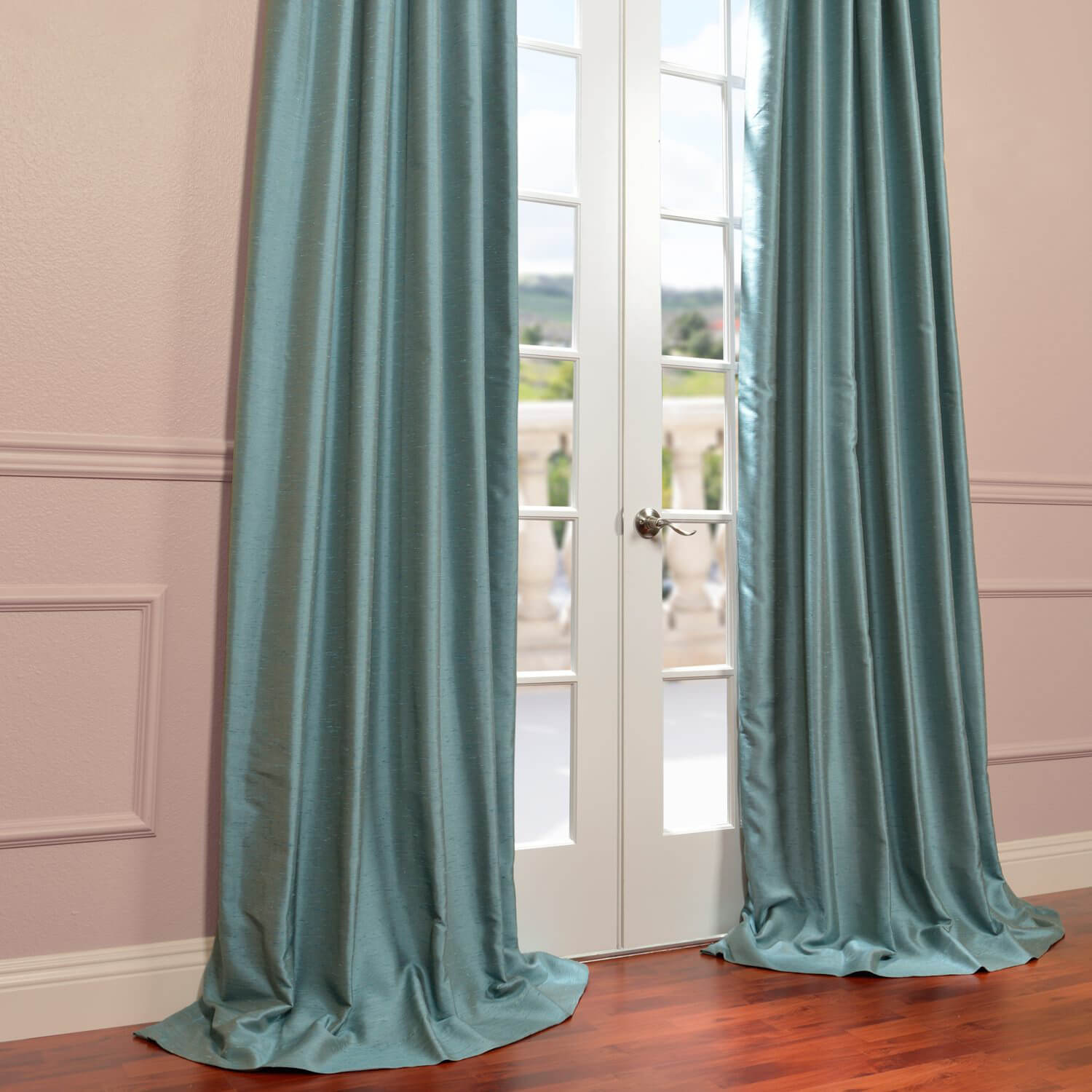 Blue Agave Yarn Dyed Faux Dupioni Silk Curtain Drapes