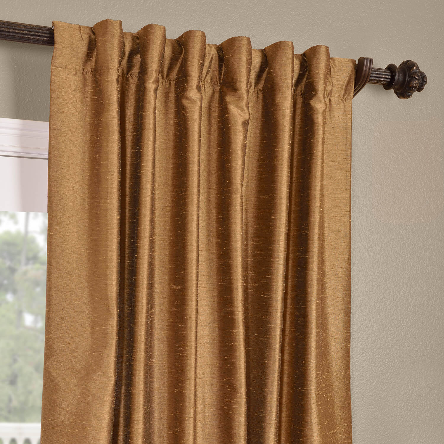 Buy Empire Gold Yarn Dyed Faux Dupioni Silk Curtains