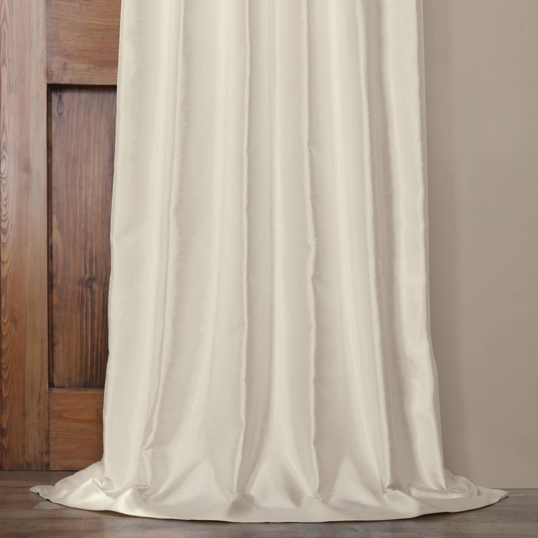 Translucent Cream Yarn Dyed Faux Dupioni Silk Curtain