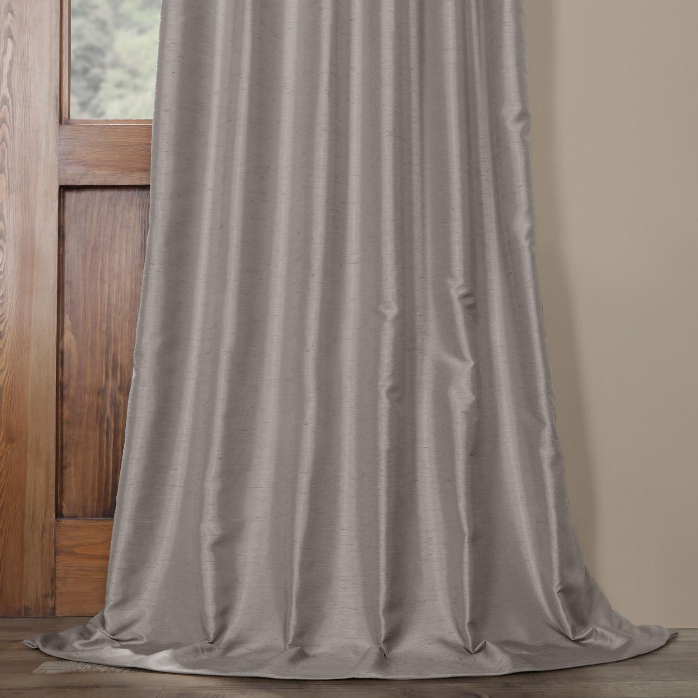 Elemental Grey Yarn Dyed Faux Dupioni Silk Curtain