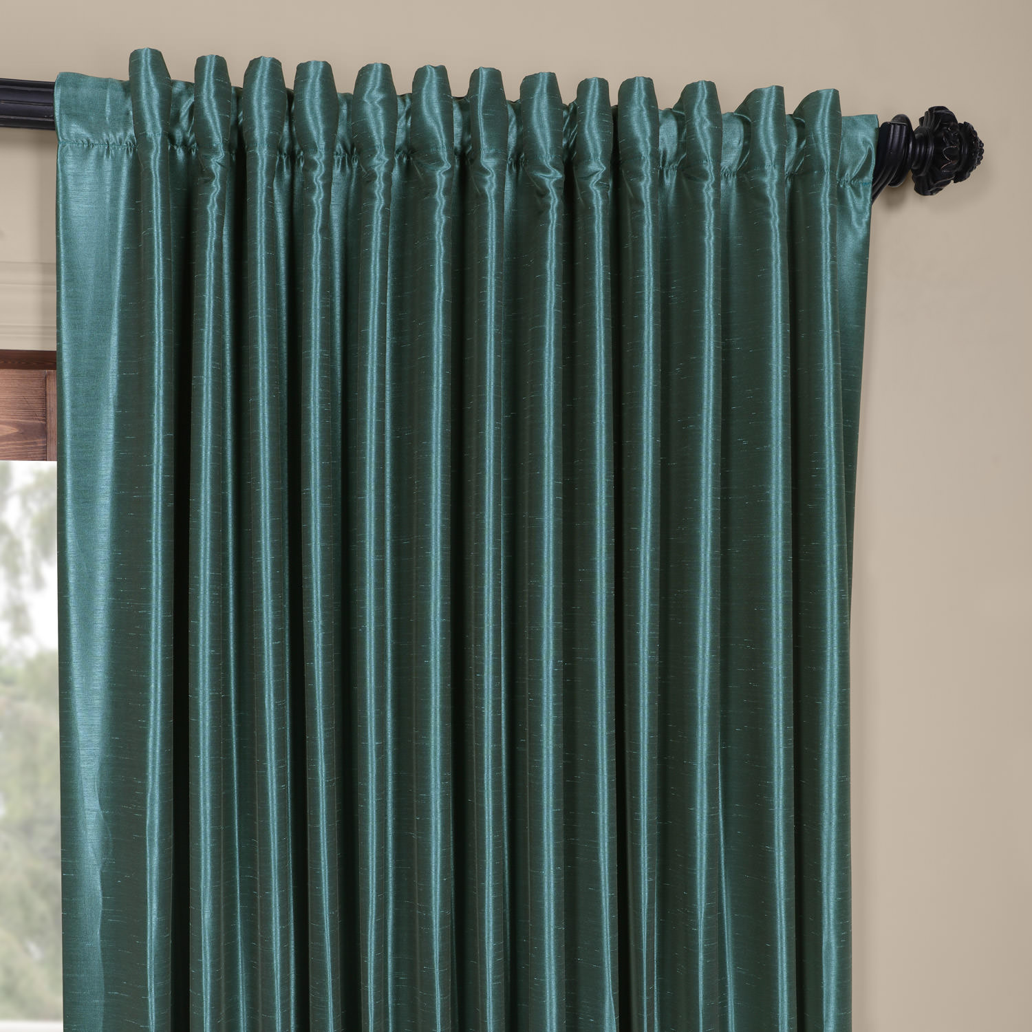 Peacock Blackout Extra Wide Vintage Textured Faux Dupioni Curtain