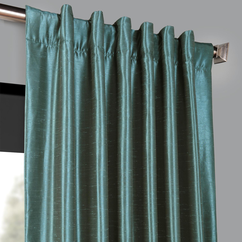 Peacock Blackout Vintage Textured Faux Dupioni Curtain