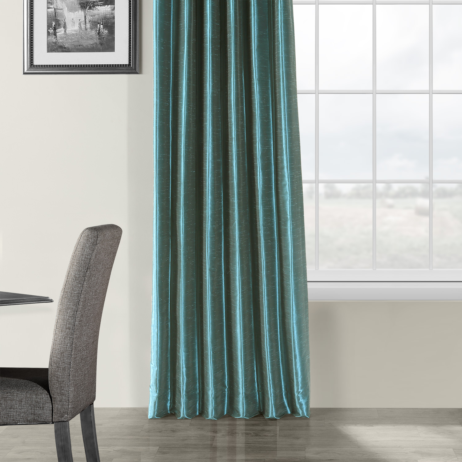 Peacock Vintage Textured Faux Dupioni Silk Curtain