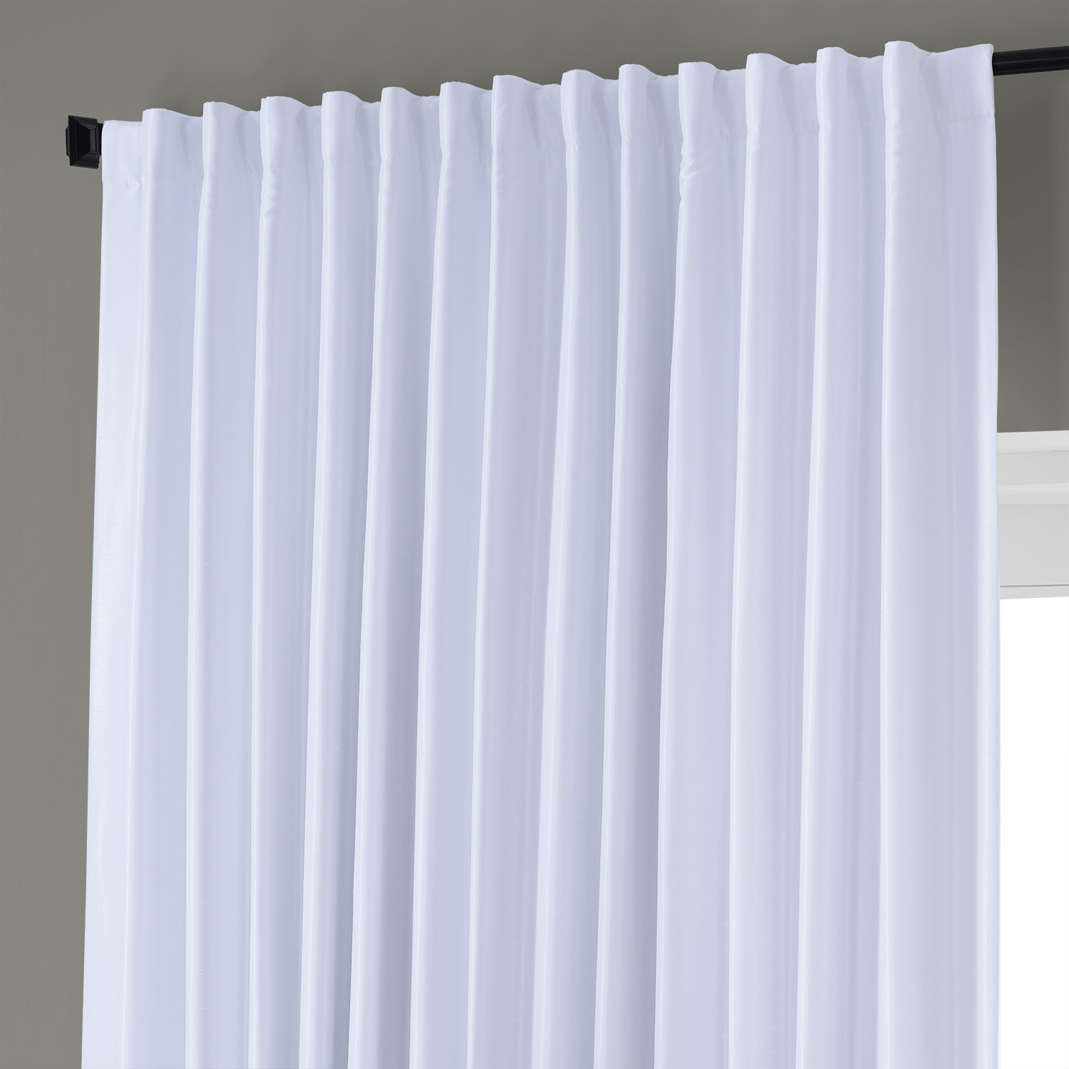 Ice Blackout Extra Wide Vintage Textured Faux Dupioni Curtain