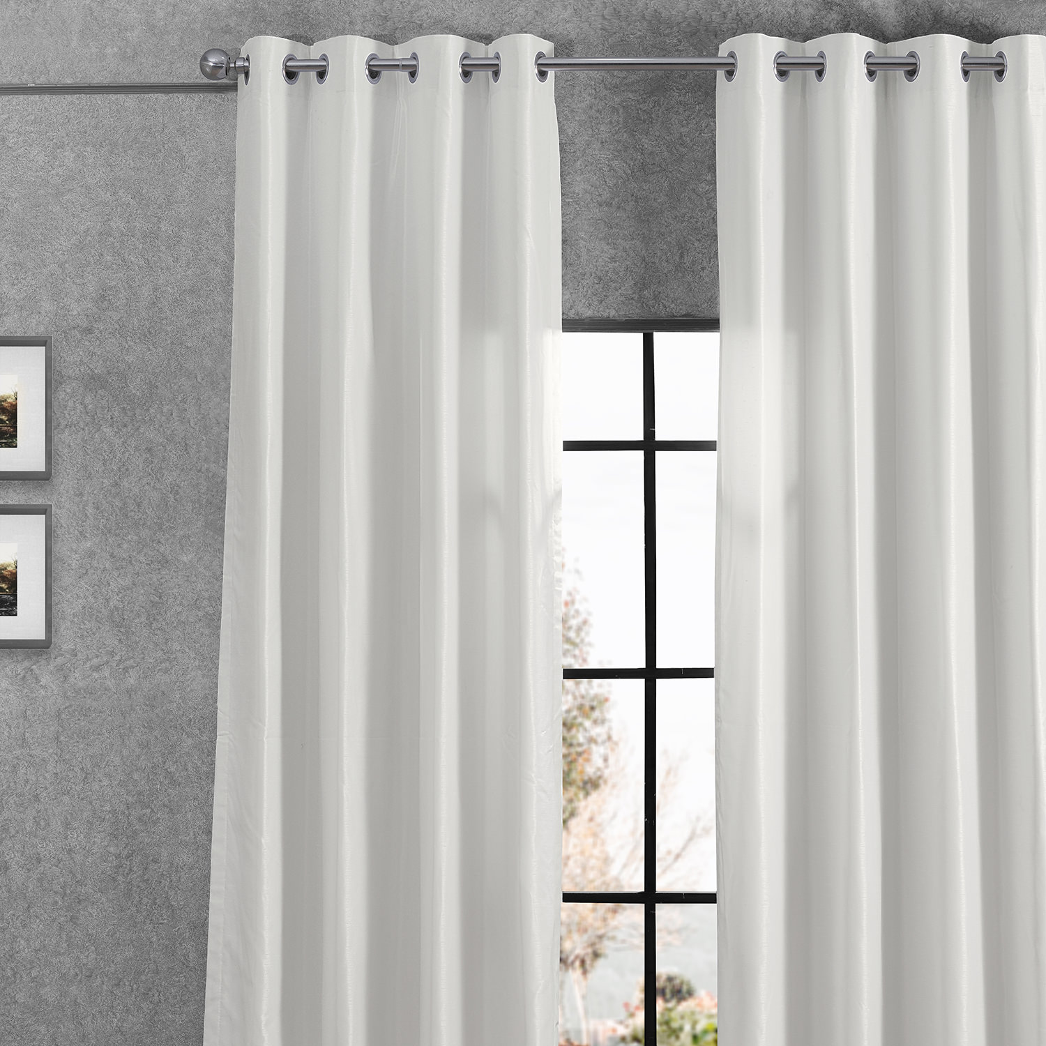 Off White Grommet Blackout Vintage Textured Faux Dupioni Silk Curtain