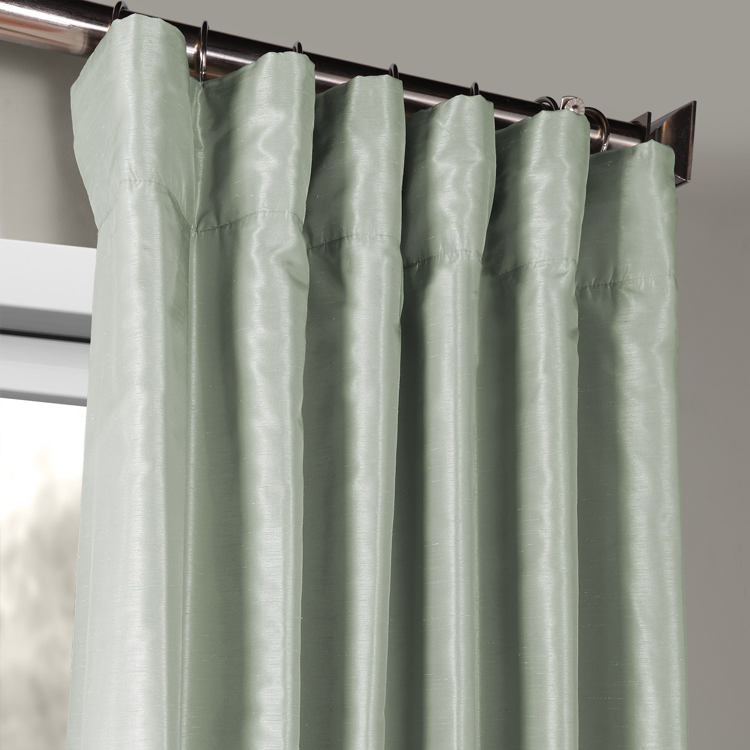 Water Fall Vintage Textured Faux Dupioni Silk Curtain