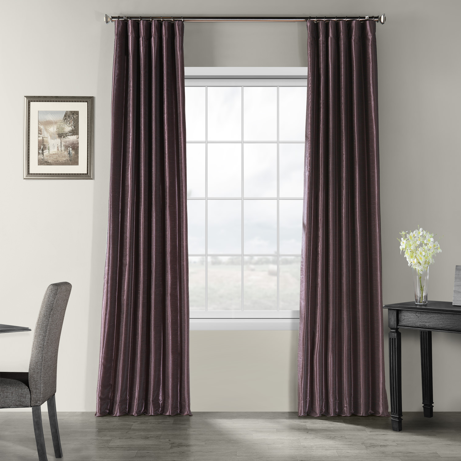 Dark Grape Vintage Textured Faux Dupioni Silk Curtain