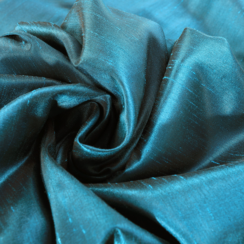 Oceanside Blue Vintage Textured Faux Dupioni Silk Swatch