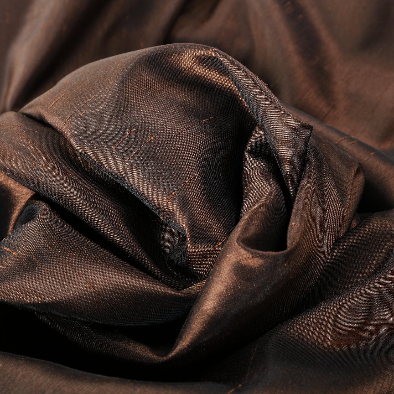Coffee Bean Faux Textured Dupioni Silk Swatch