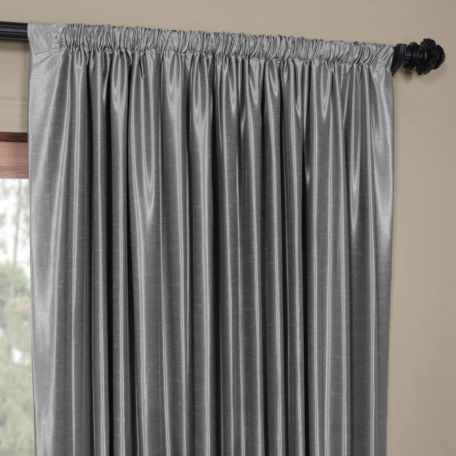 Storm Grey Blackout Extra Wide Vintage Textured Faux Dupioni Curtain