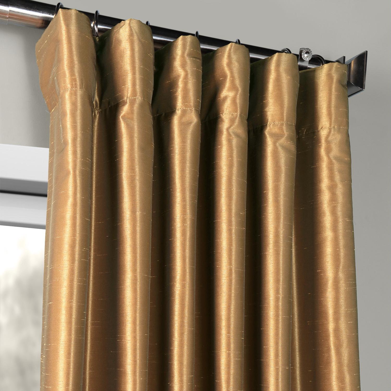 Flax gold vintage textured faux dupioni silk curtains for Silk curtains texture