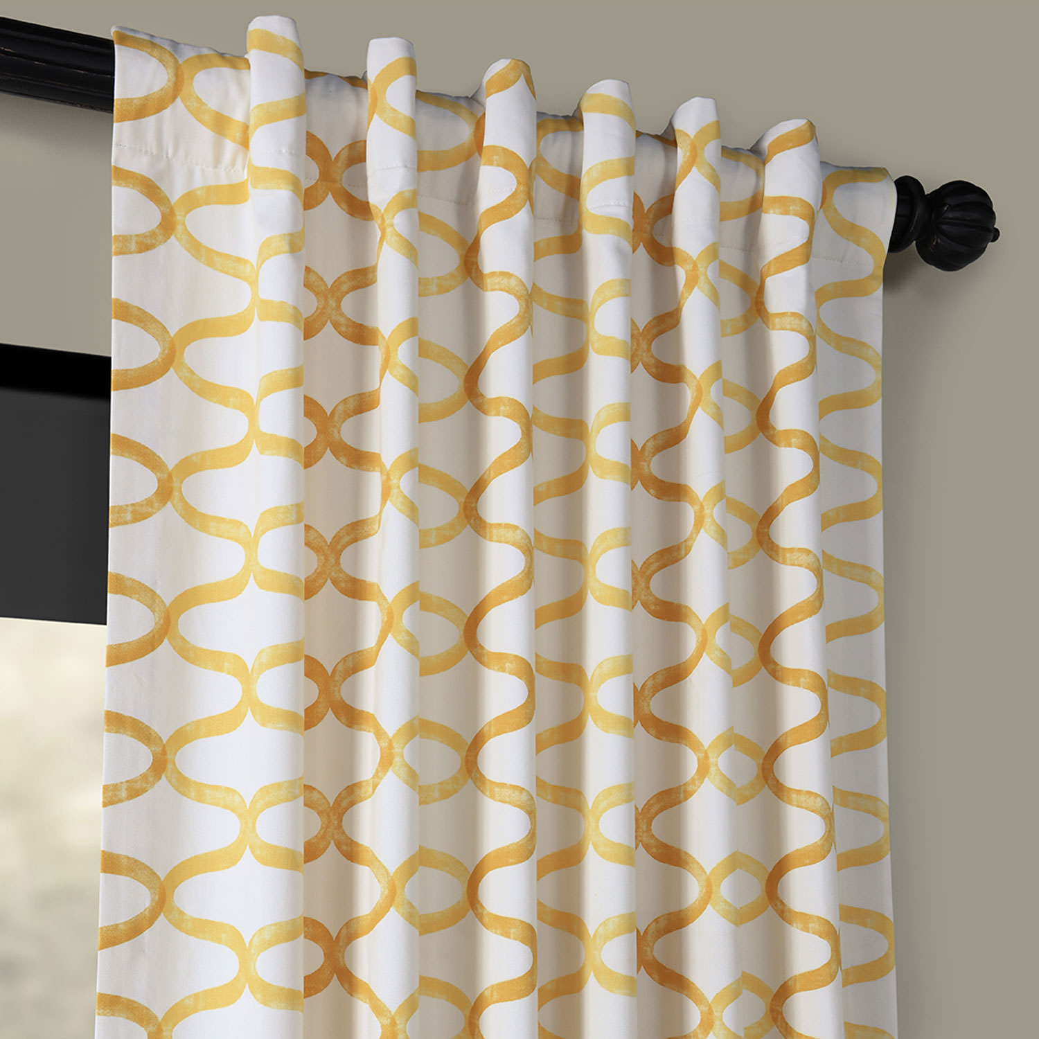 Illusions Yellow Printed Cotton Curtain