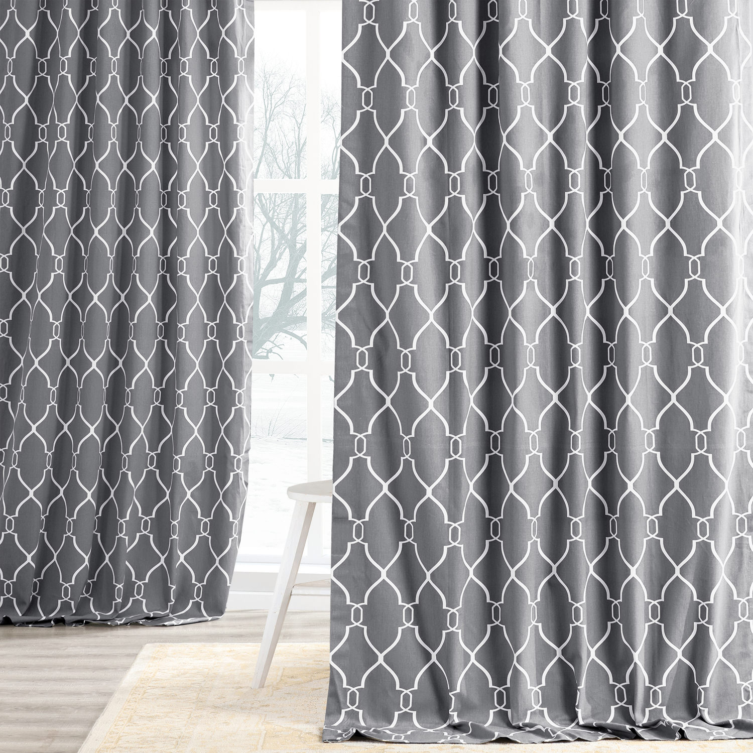 Aiden Gray Printed Cotton Curtain