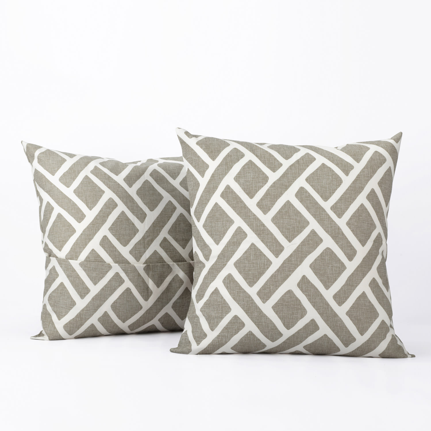 Martinique Taupe Printed Cotton Cover- PAIR