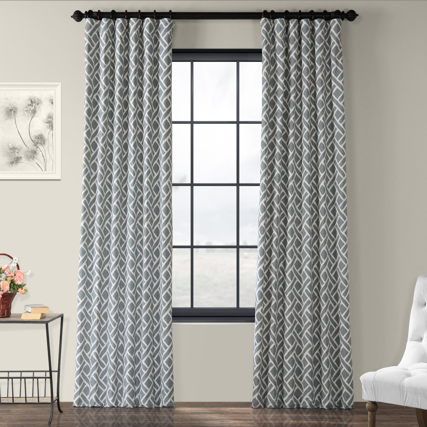 Martinique Grey Printed Cotton Curtain