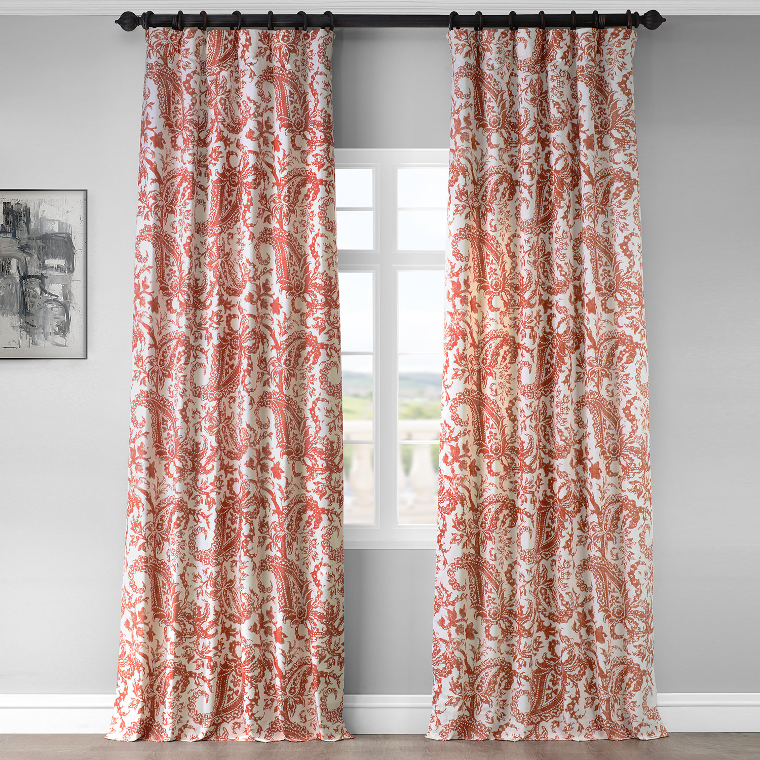 Edina Rust Printed Cotton Curtain