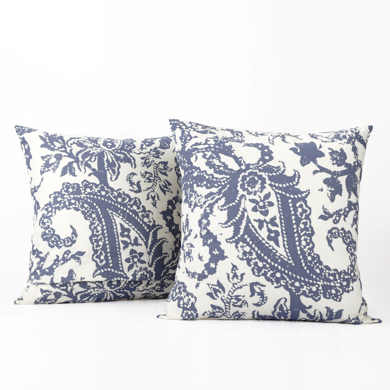 Edina Blue Printed Cotton Cover- PAIR