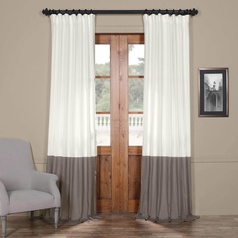 Fresh Popcorn and Millstone Grey Horizontal Colorblock Panama Curtain