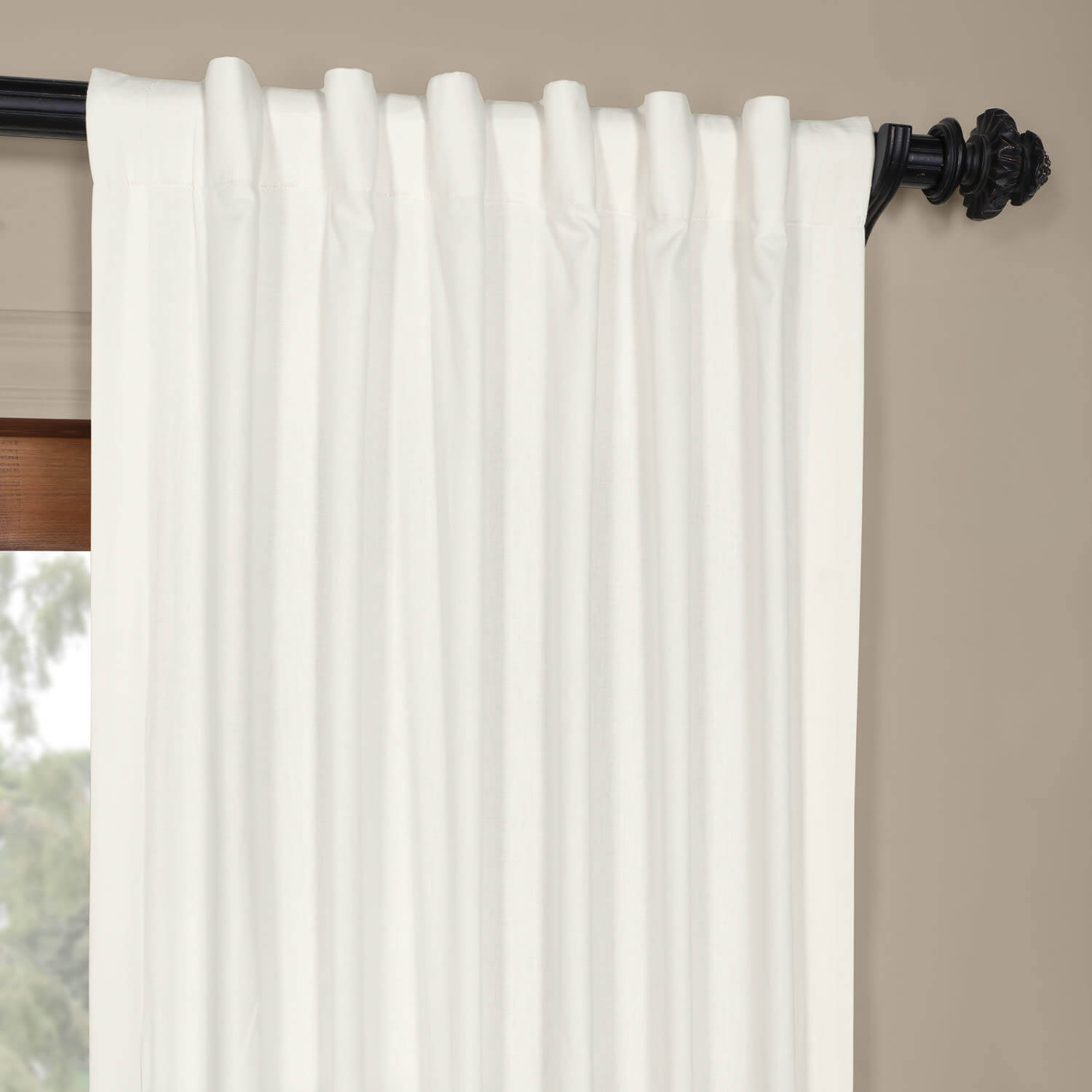 Fresh Popcorn and Shaker Beige Horizontal Colorblock Panama Curtain