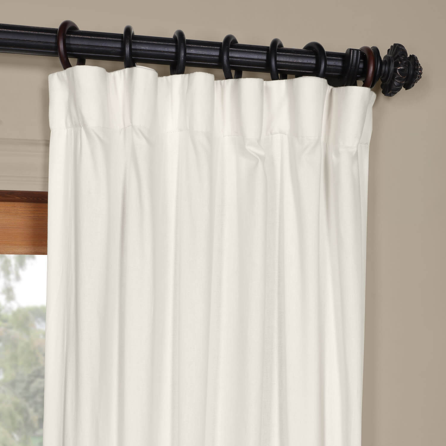 Fresh Popcorn and Black Horizontal Colorblock Panama Curtain