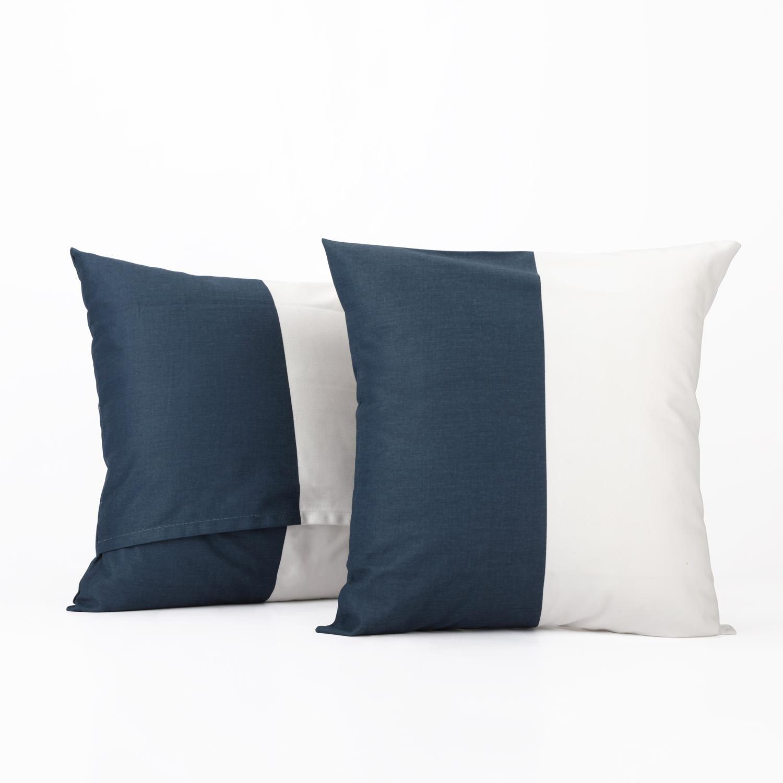 Dusk Blue & Off White Horizontal Stripe Cotton Cover- PAIR