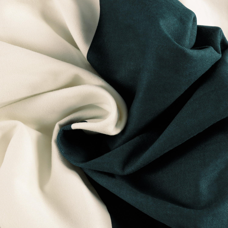 Dusk Blue & Off White Horizontal Stripe Cotton Fabric