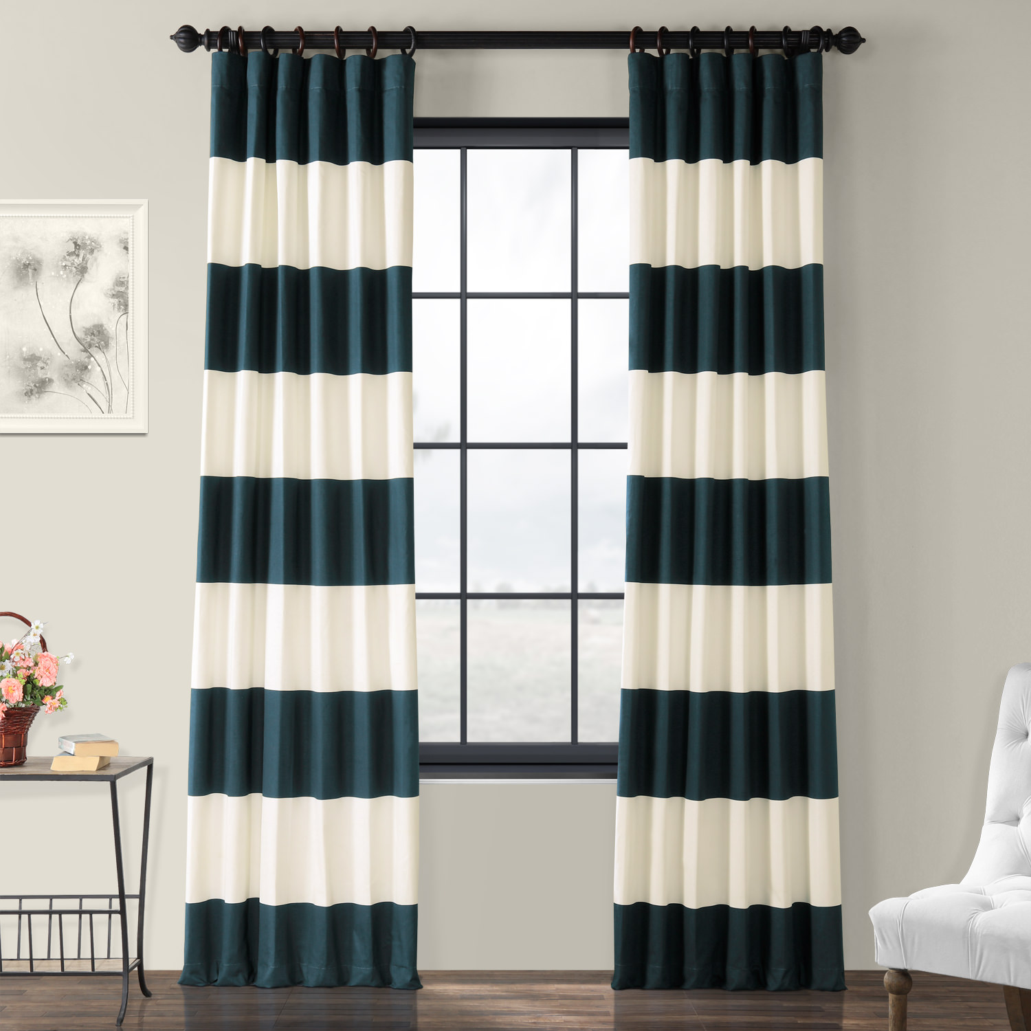 Get Dusk Blue And Off White Horizontal Stripe Curtain