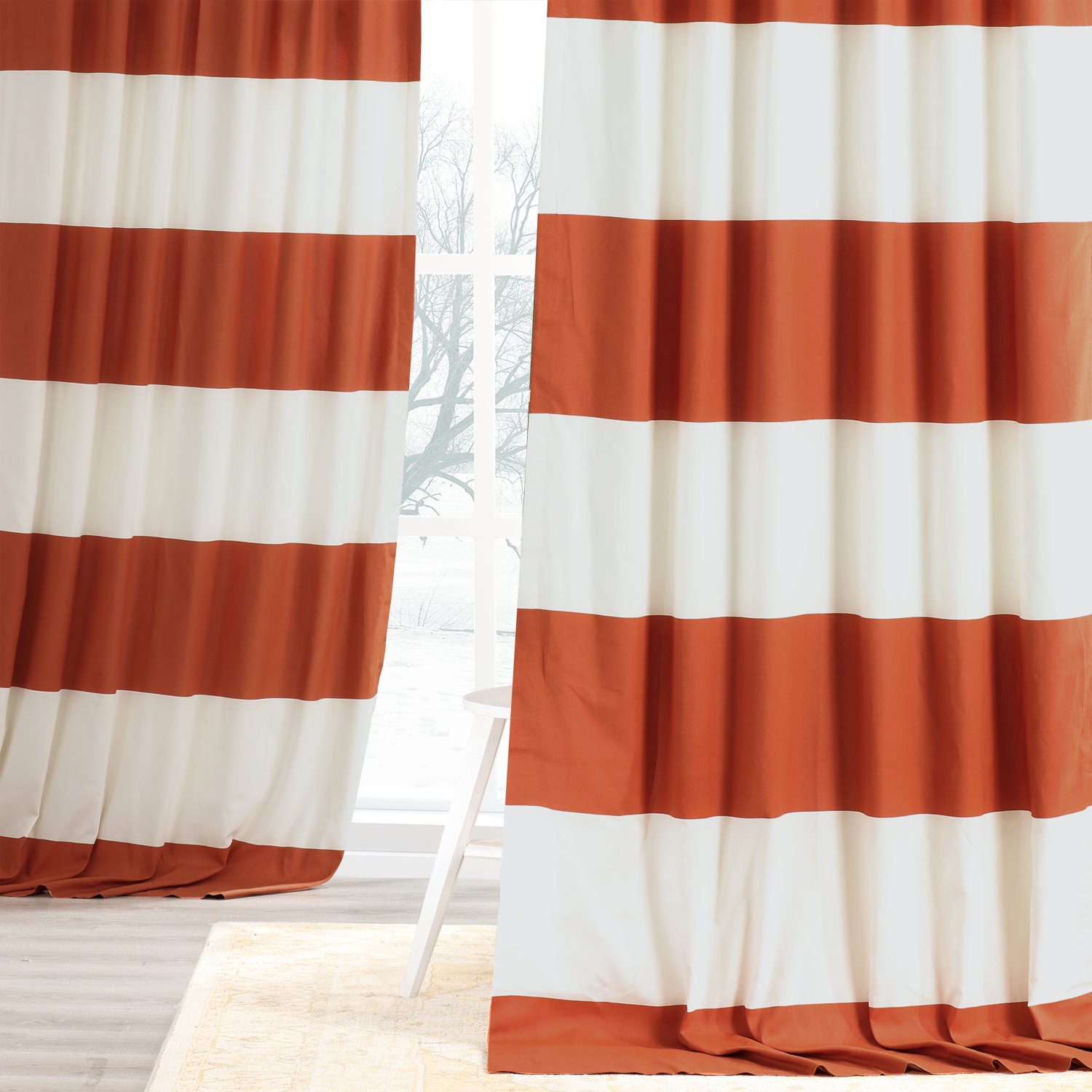 Get Henna And Off White Horizontal Stripe Curtain