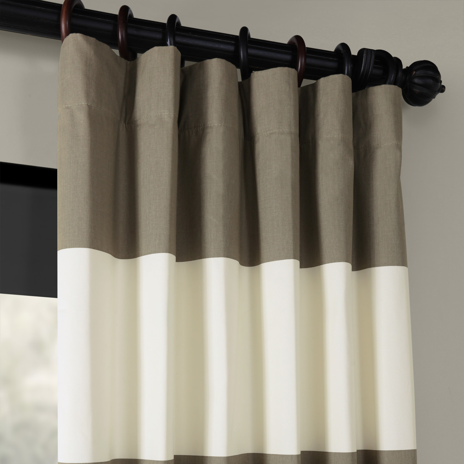 Thunder Tan &Off  White Horizontal Stripe Curtain