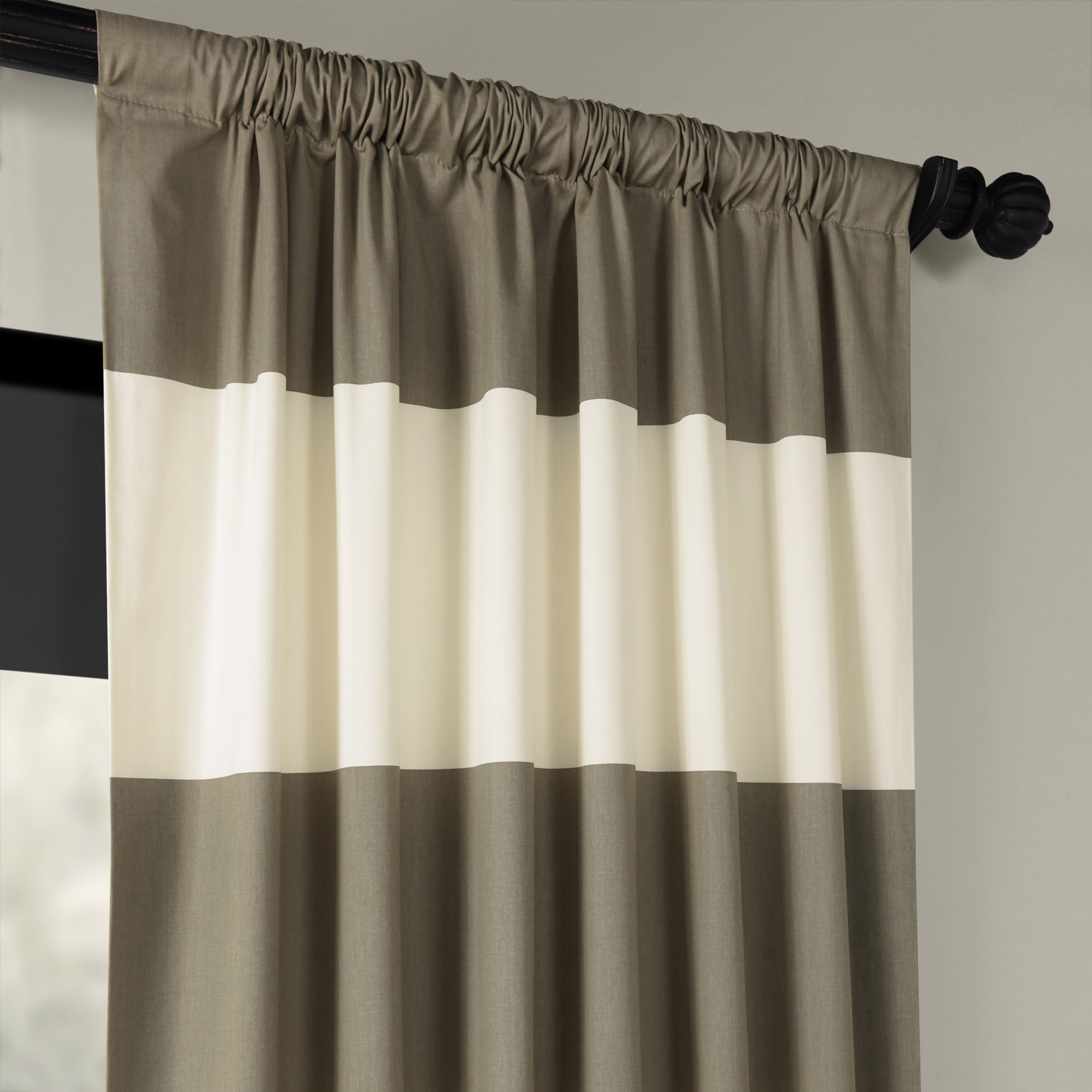 Thunder Tan And Off White Horizontal Stripe Curtain
