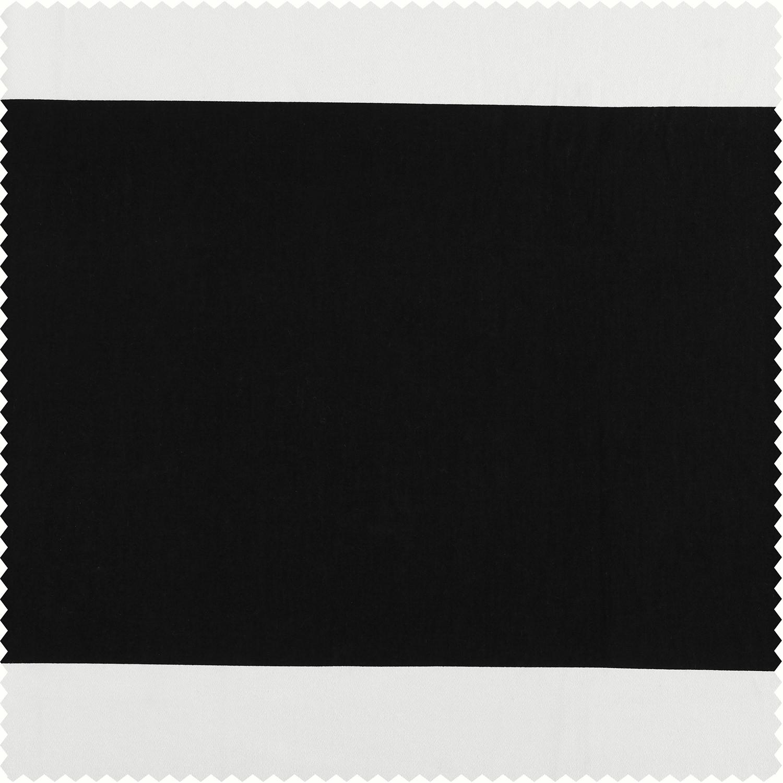 Onyx Black & OffWhite Horizontal Stripe Cotton Fabric
