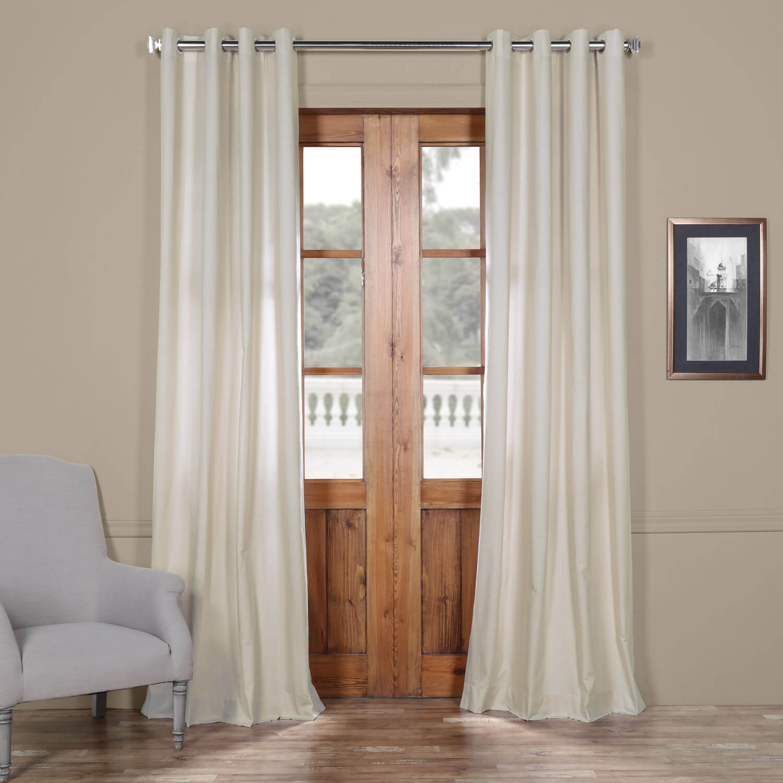 Hazelwood Beige Solid Cotton Grommet Curtain