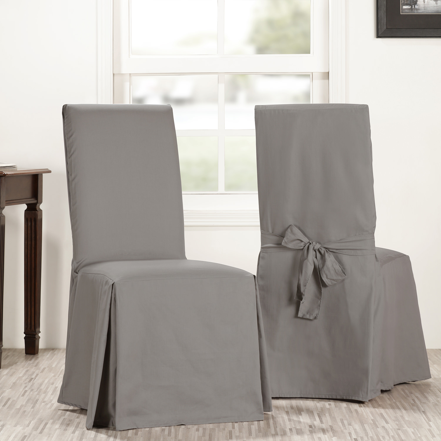 Millstone Gray Solid Cotton Chair Covers (Sold As Pair)