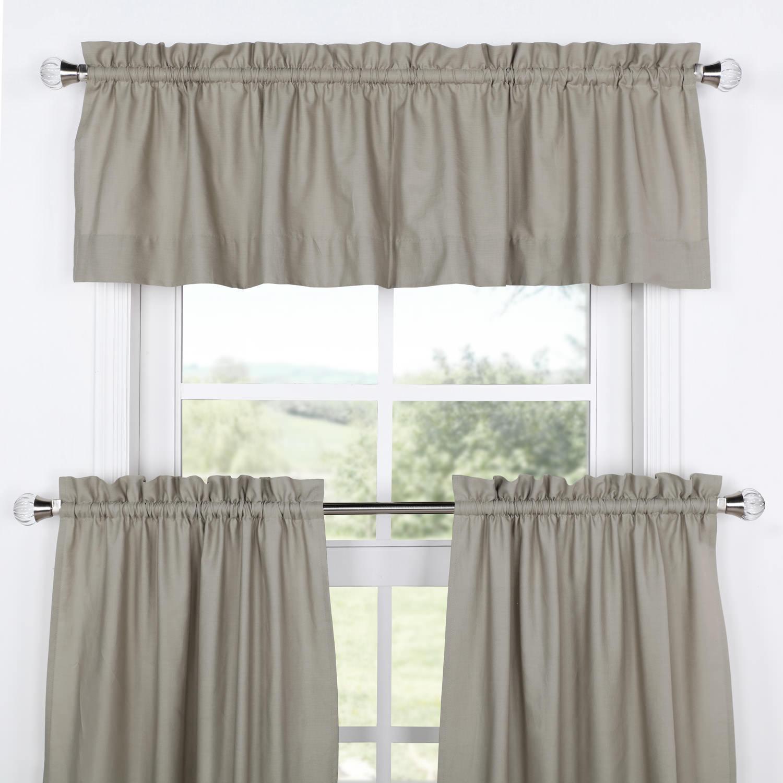 Millstone Gray Solid Cotton Kitchen Tier Curtain & Valance Set (3pc)
