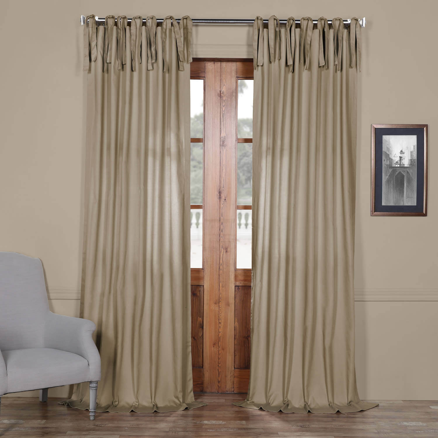 Sandstone Solid Cotton Tie-Top Curtain
