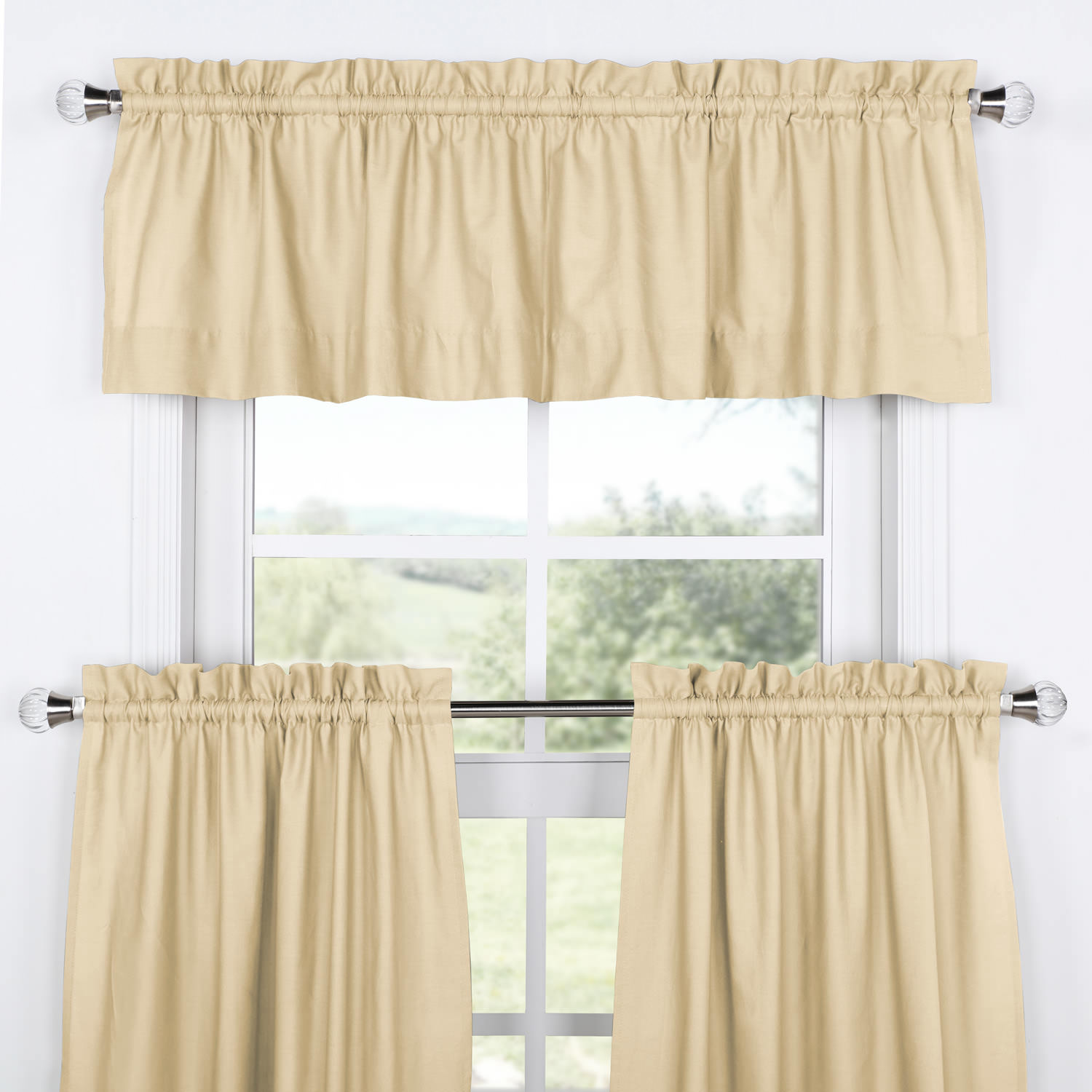 Shaker Beige Solid Cotton Kitchen Tier Curtain & Valance Set (3pc)