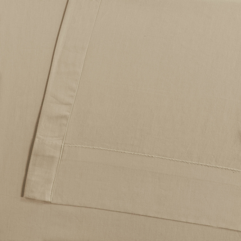 Shaker Beige Solid Cotton Tie-Top Curtain
