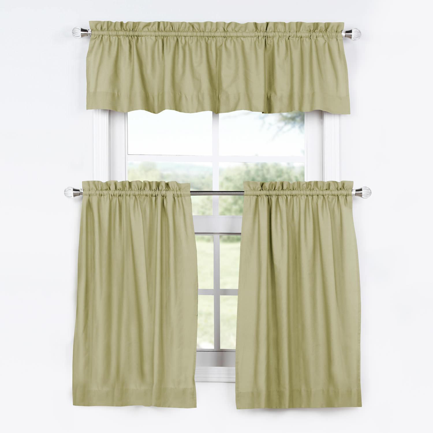 Mountain Moss Solid Cotton Kitchen Tier Curtain & Valance Set (3pc)