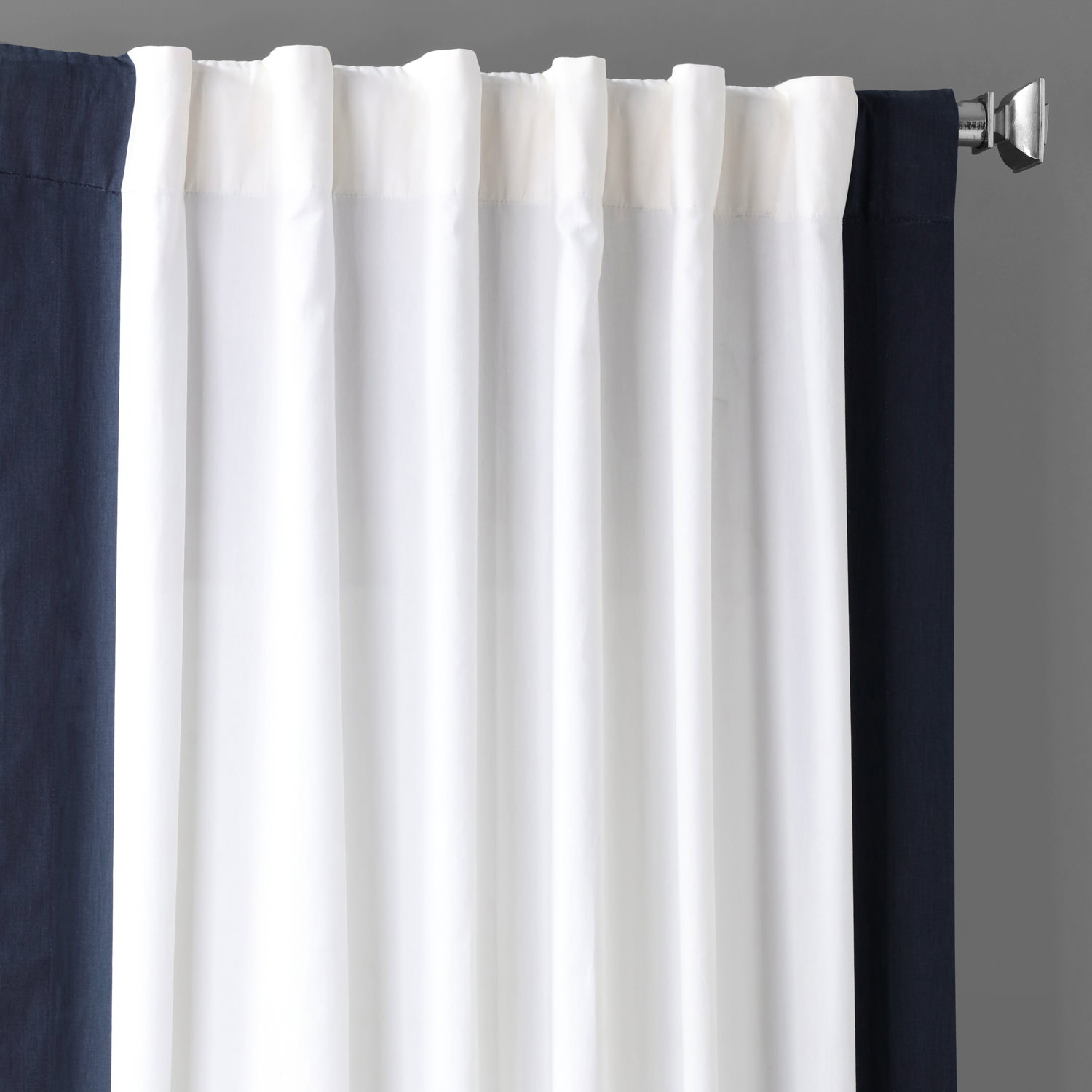 Fresh Popcorn and Polo Navy Vertical Colorblock Panama Curtain