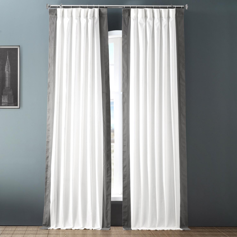 Fresh Popcorn and Millstone Grey Vertical Colorblock Panama Curtain