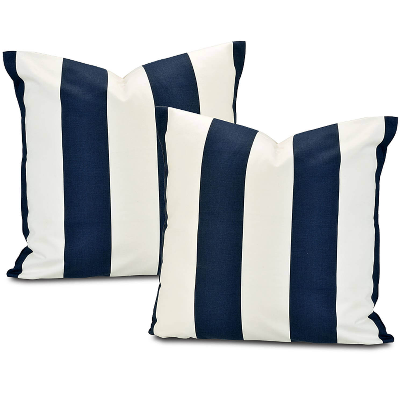 Cabana Navy Printed Cotton Cushion Cover (Pair)