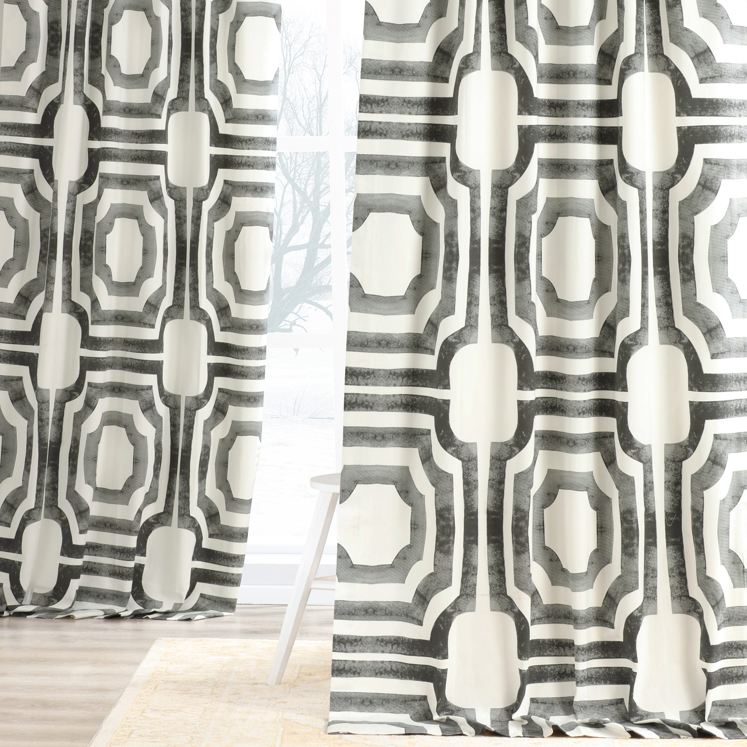 Mecca Steel Printed Cotton Curtain