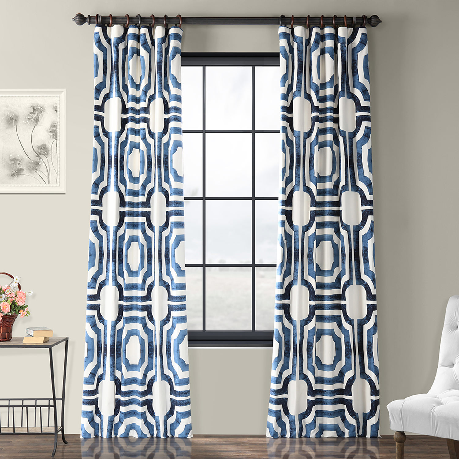 Get Mecca Blue Printed Cotton Curtain Amp Drapes