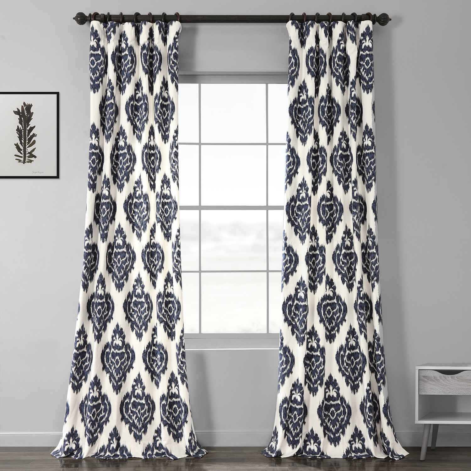 Get Ikat Blue Printed Cotton Curtain Amp Drapes
