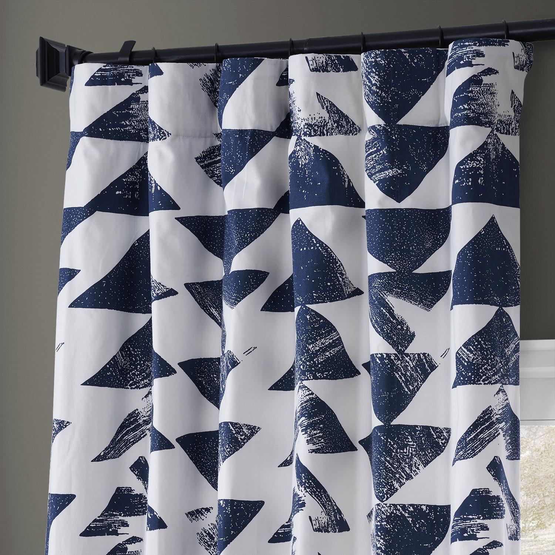 Triad Indigo Printed Cotton Twill Curtain