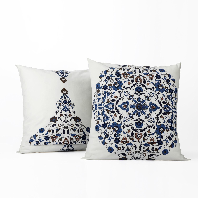Kerala Blue Printed Cotton Cover- PAIR